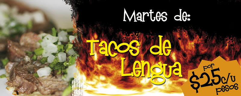 Martes de tacos de lengua a solo $25 pesos cada uno